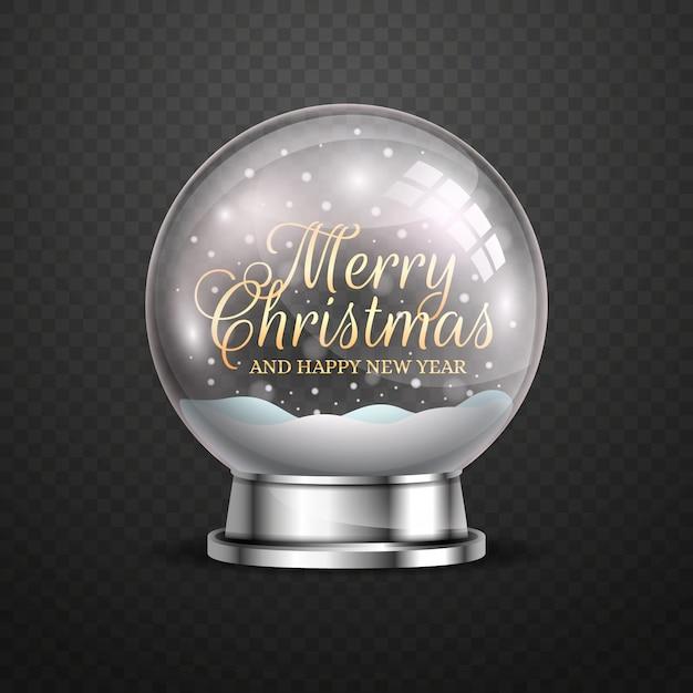 現実的なクリスマス雪玉グローブ 無料ベクター