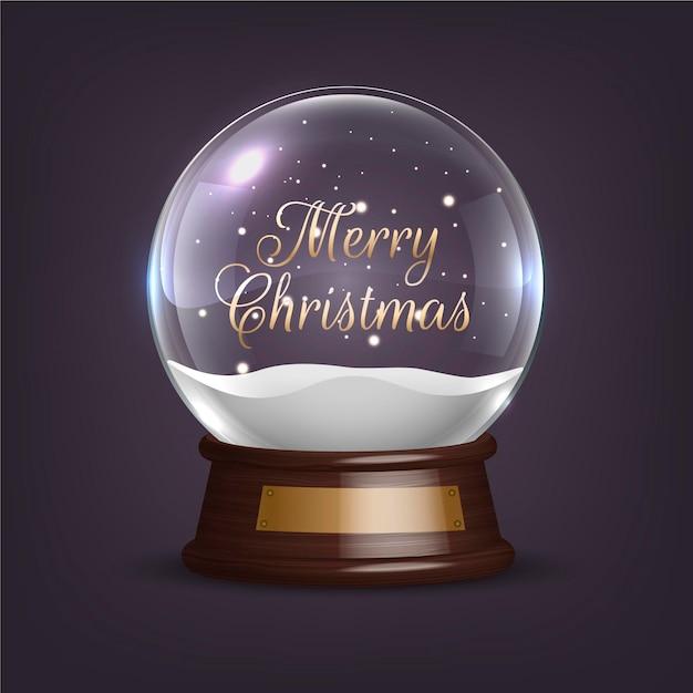 リアルなクリスマススノーボールグローブ 無料ベクター