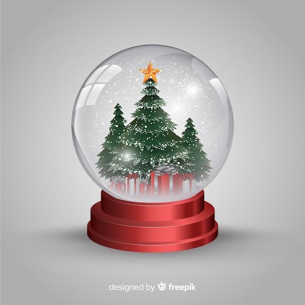 現実的なクリスマススノーボール 無料ベクター