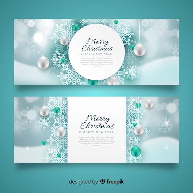 Realistic christmas snowflakes banners Free Vector