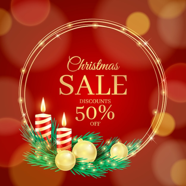 Realistic christmas special sale Free Vector
