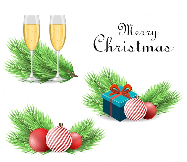 Realistic christmas tree branch and accessories Premium Vector