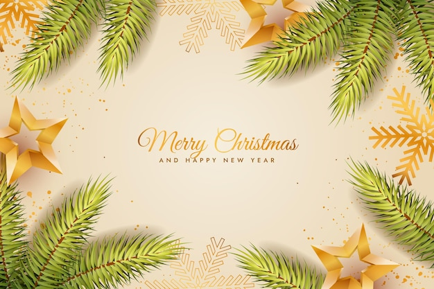 Realistic christmas tree branches background Free Vector