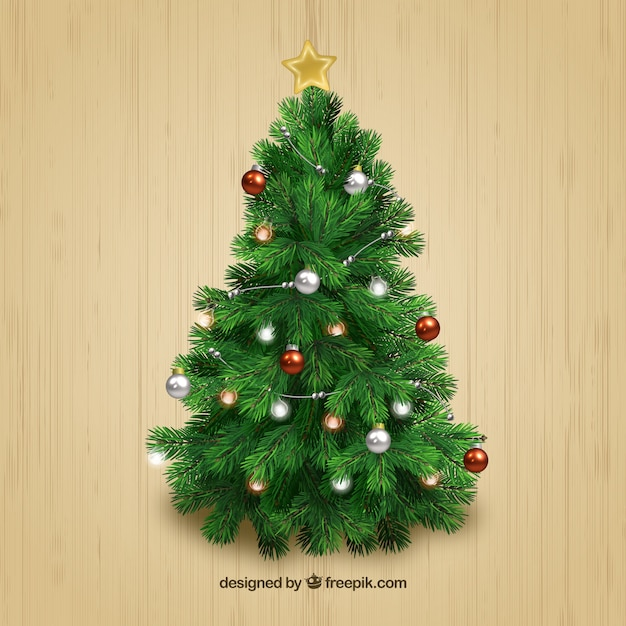 Realistic Christmas Tree Vector Free Download