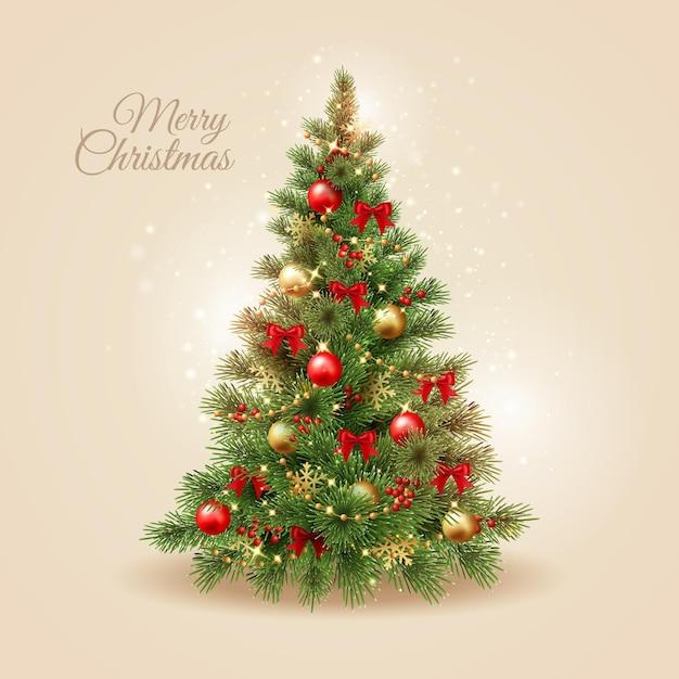 リアルなクリスマスツリー 無料ベクター