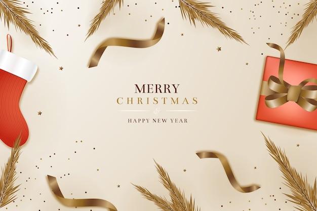 Реалистичные новогодние обои в элегантном стиле Бесплатные векторы