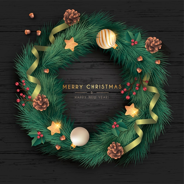 Realistic christmas wreath in black wooden background Free Vector