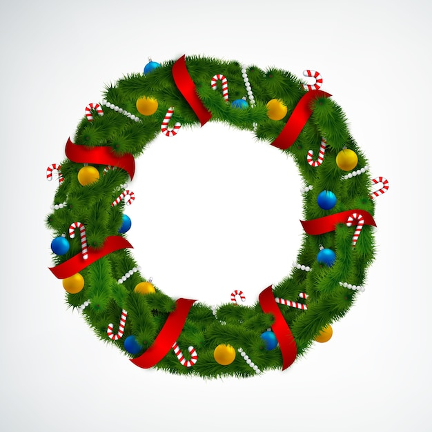 Realistic christmas wreath decorated with red ribbons candies and baubles on white Free Vector