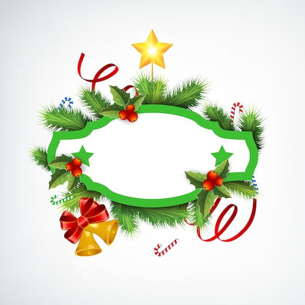 空白のフレームモミの枝リボンキャンディージングルベルと星と現実的なクリスマスリース 無料ベクター