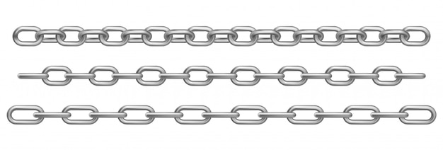Realistic chrome metal chains Free Vector