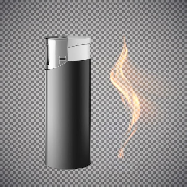 Реалистичная зажигалка. иллюстрация, изолированные на сером фоне. Premium векторы