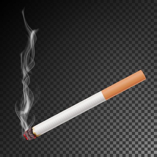 Realistic cigarette with smoke vector. isolated illustration. Premium Vector