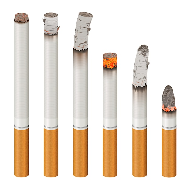 Realistic cigarettes set stages of burn Free Vector