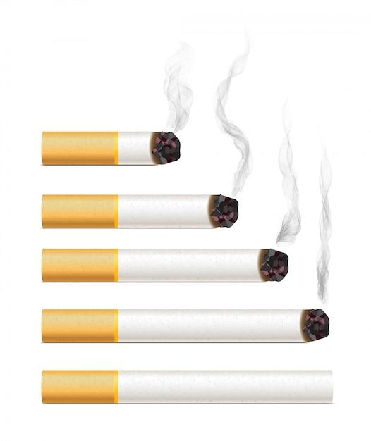 Realistic cigarettes with smoke Premium Vector