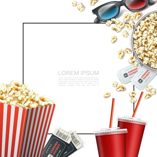Realistic cinema elements template with frame for text 3d glasses tickets soda cups striped paper box and bucket of popcorn Free Vector