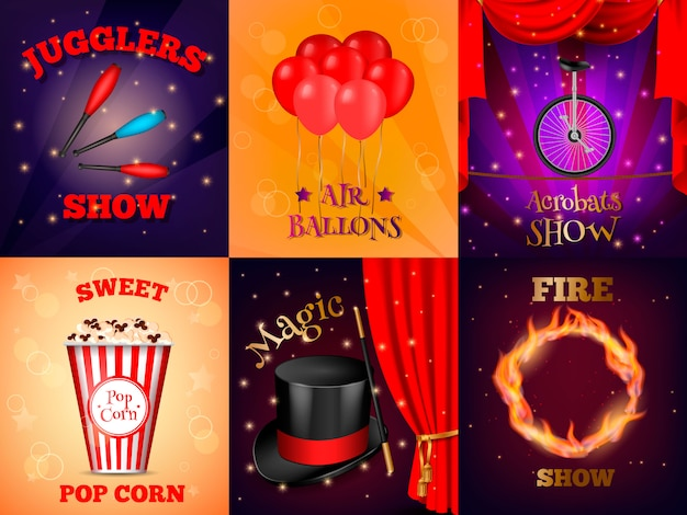 Realistic circus cards set Free Vector