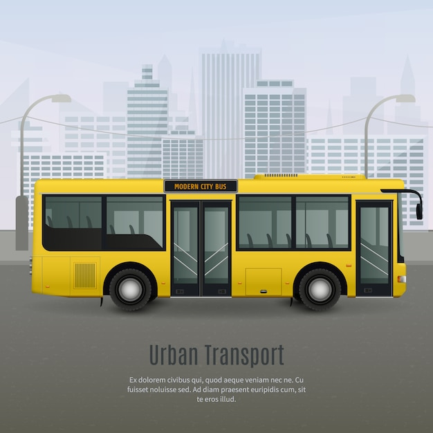 현실적인 도시 버스 그림 무료 벡터