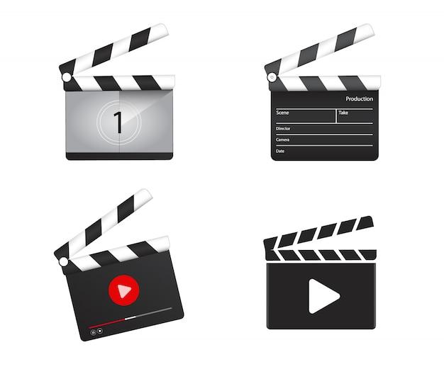 Realistic clapper board with movie countdown Premium Vector