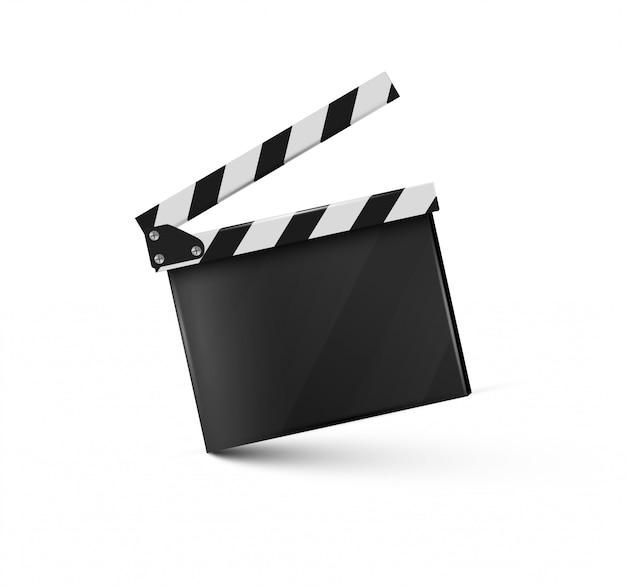 Realistic clapper.cinema.board on a white background.film.time. Premium Vector