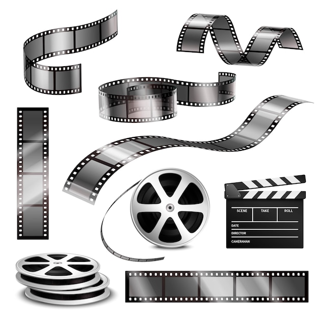 Realistic clapper photographic strips and film Free Vector