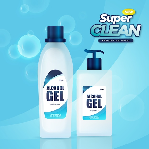 Realistic cleaning products ad Free Vector