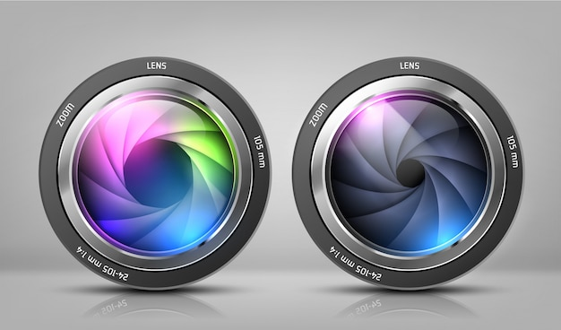 Realistic clipart with two camera lenses, photo objectives with zoom Free Vector
