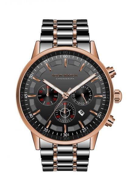 Realistic clock watch chronograph black steel copper luxury Premium Vector