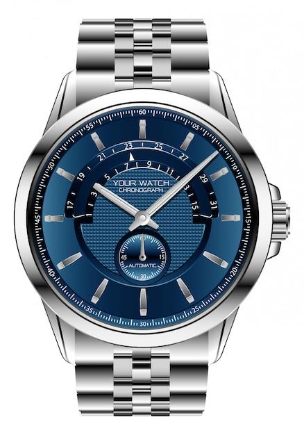 Realistic clock watch chronograph blue silver steel luxury Premium Vector
