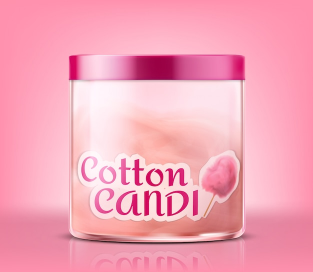 Realistic closed glass jar with cotton candy, isolated on pink background. Free Vector