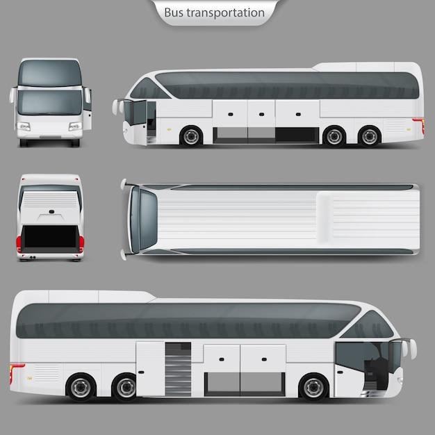 Realistic coach bus mockup back, top view Premium Vector