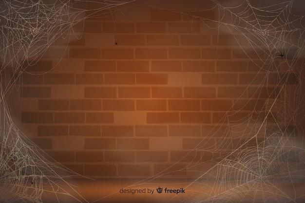 Реалистичная паутина с винтажной стеной Premium векторы