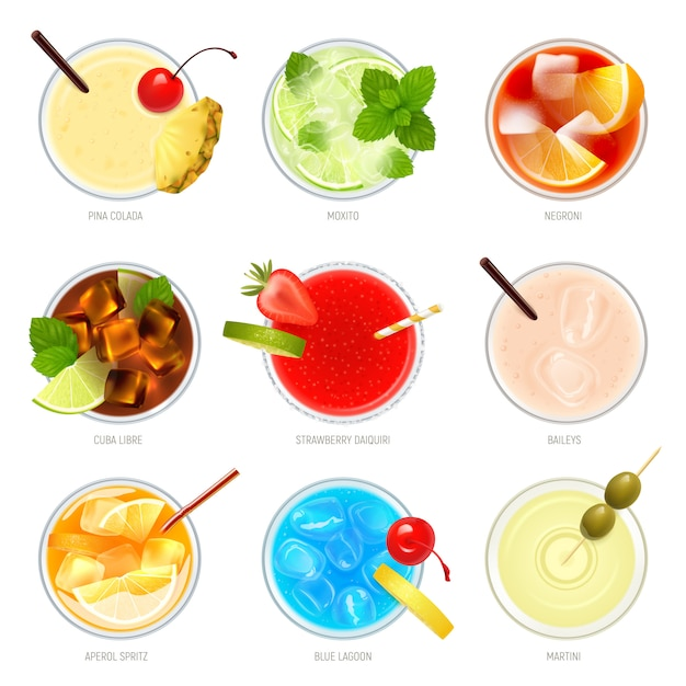 Realistic cocktails top view set with nine isolated images of cocktail glasses with toppings and text  illustration Free Vector