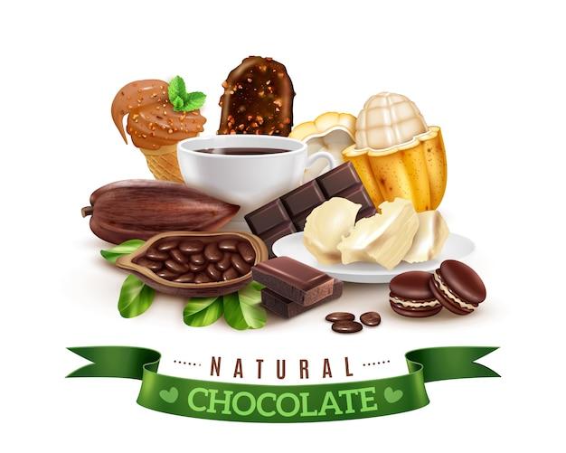Реалистичная композиция какао-продуктов Бесплатные векторы