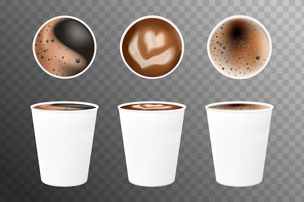 Реалистичные кофе 3d в белых чашках сверху и сбоку. кофе эспрессо в белых бумажных стаканчиках Premium векторы