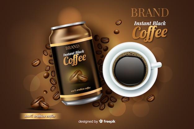 Realistic coffee advertisement Free Vector