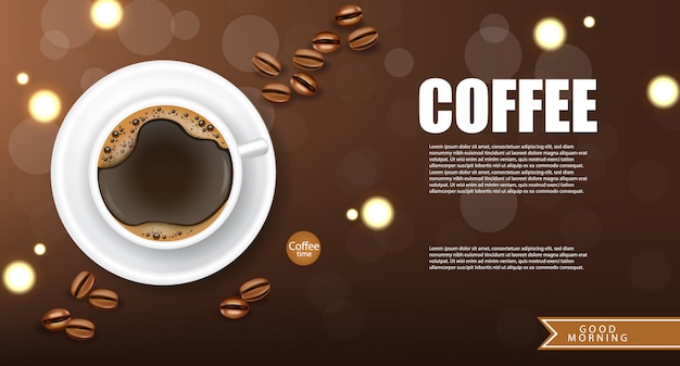 Realistic coffee, arabica 100%, coffee banner, beans and hot drink, good morning, illustration Premium Vector