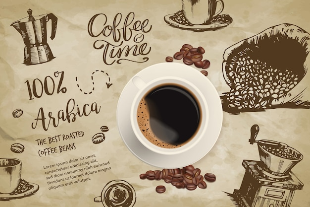 Realistic coffee background with drawings Free Vector