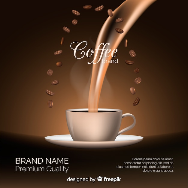 Realistic coffee brand background Free Vector