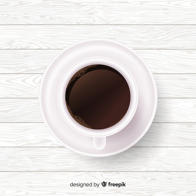 Realistic coffee cup background Free Vector