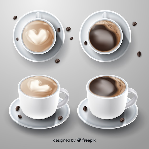 Realistic coffee cup collection Free Vector