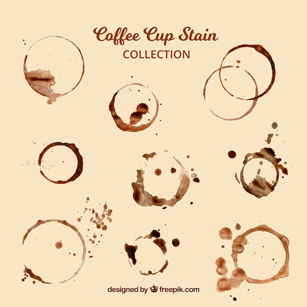 Realistic coffee cup stain collection Premium Vector