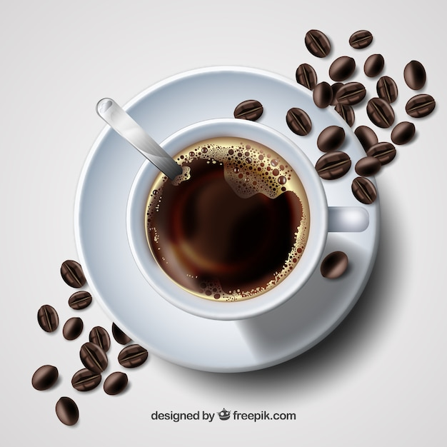 Realistic Coffee Cup With Top View Vector