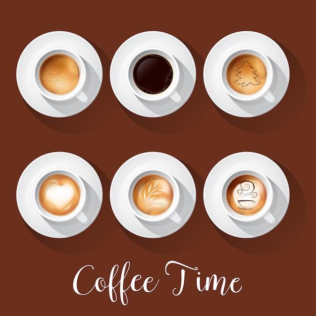 アメリカーノラテエスプレッソマキアートモカカプチーノと現実的なコーヒーカップ。 Premiumベクター