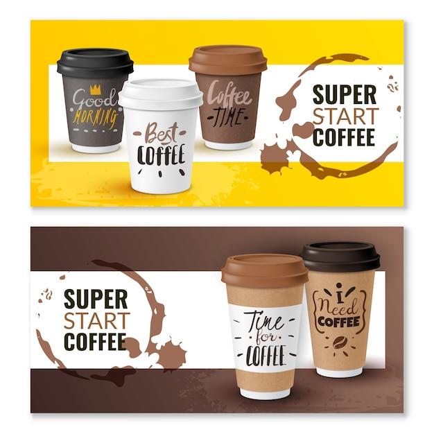 Реалистичные кофейные одноразовые чашки вертикальные баннеры Premium векторы