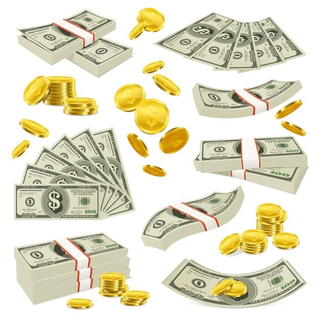 Реалистичный набор монет и банкнот Бесплатные векторы