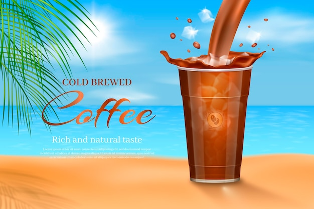 Realistic cold brew coffee ad Free Vector