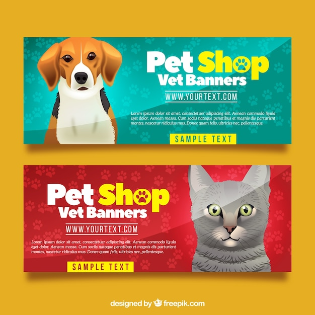 Realistic collection of banners with animals Free Vector