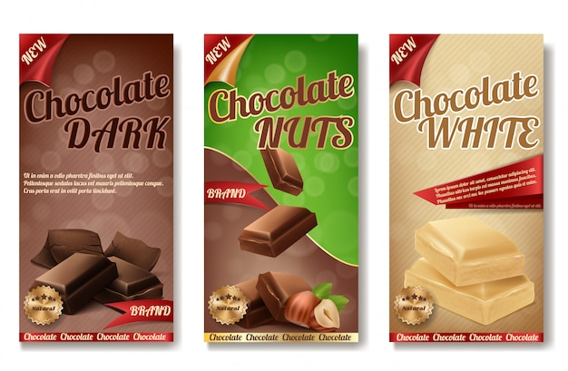 Realistic collection of chocolate packaging. labels of tasty product with nuts Free Vector
