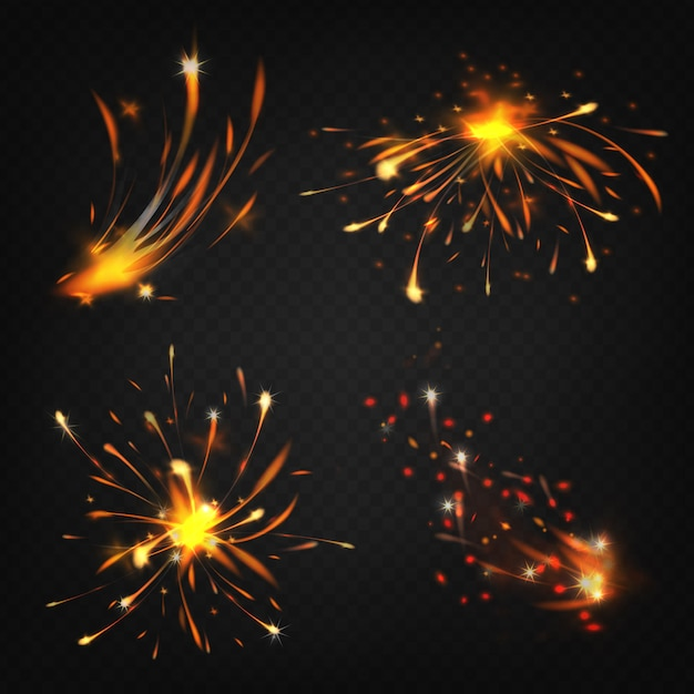 Realistic collection of fireworks, sparks from welding or cutting metal. Free Vector