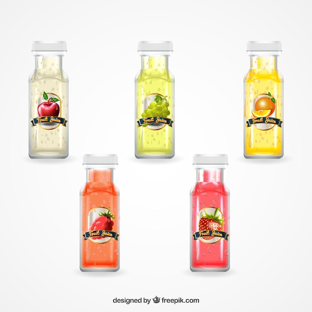 Realistic collection of five bottles with fruit\ juices